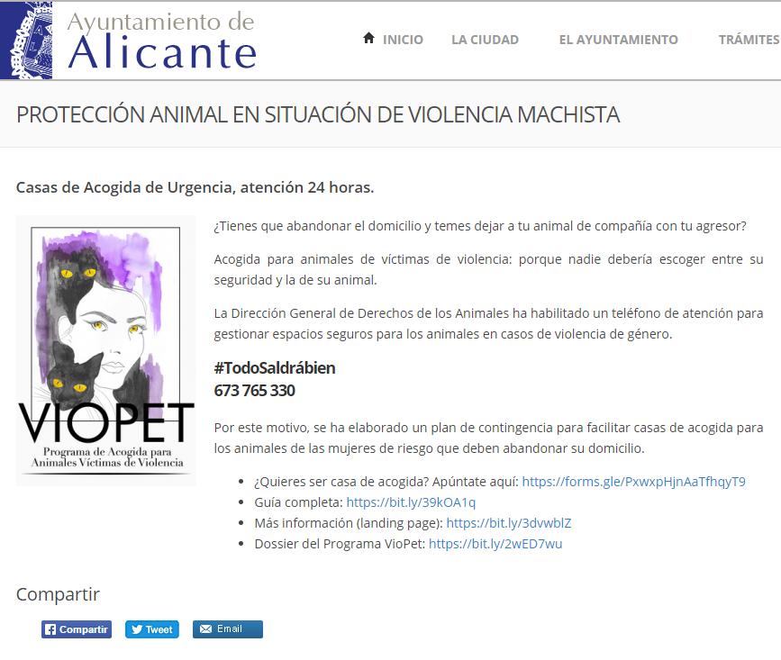 AYTO. ALICANTE: PROTECCIÓN ANIMAL EN SITUACIÓN DE VIOLENCIA MACHISTA